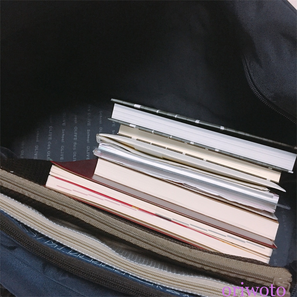スクールバッグに物を入れた