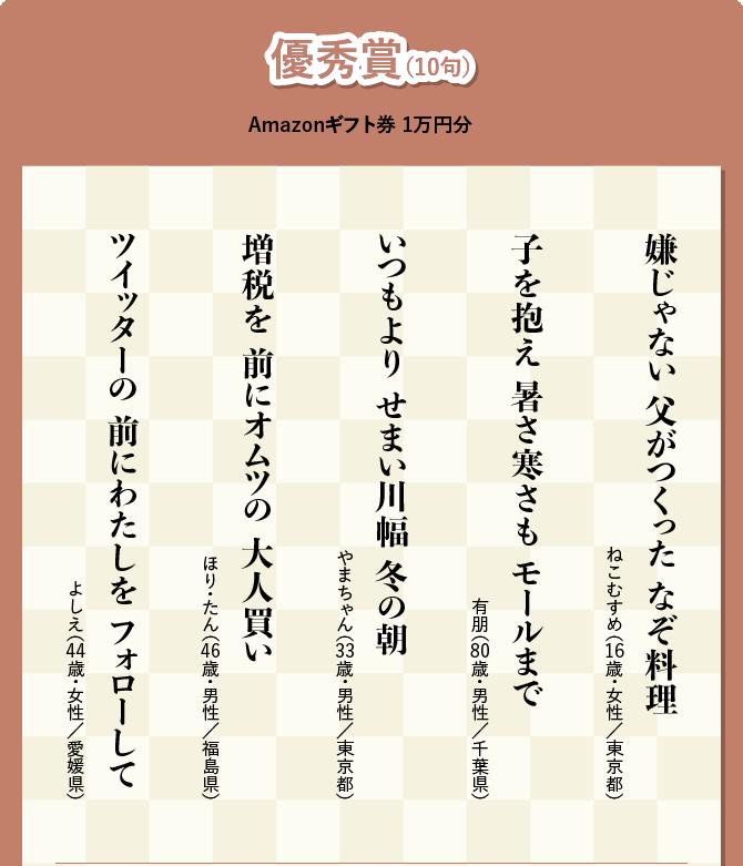 優秀賞(10句) Amazonギフト券 1万円分