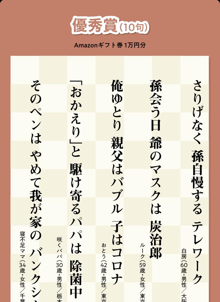 優秀賞(10句)Amazonギフト券 1万円分
