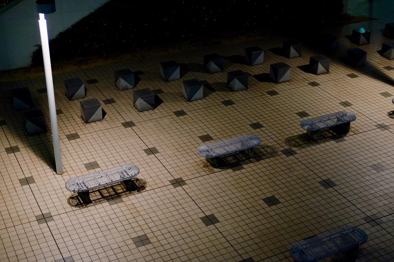 夜の国際展示場バス発着場