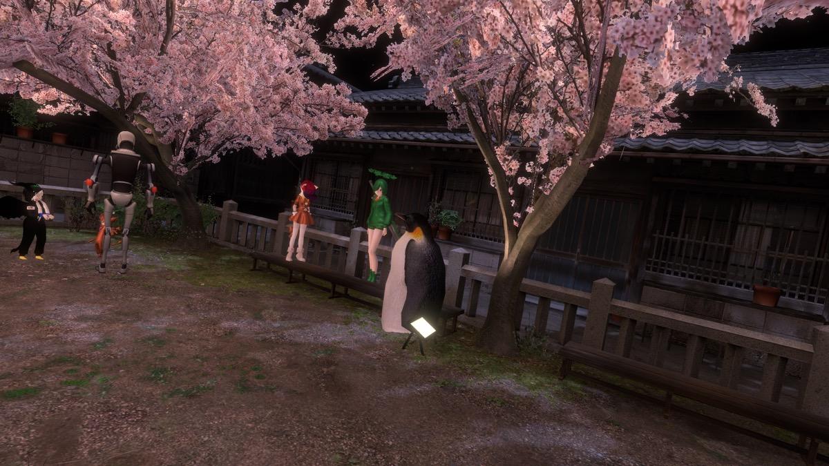 VRChat「SAKURA hiroba-yoru」で戯れるアバターたち