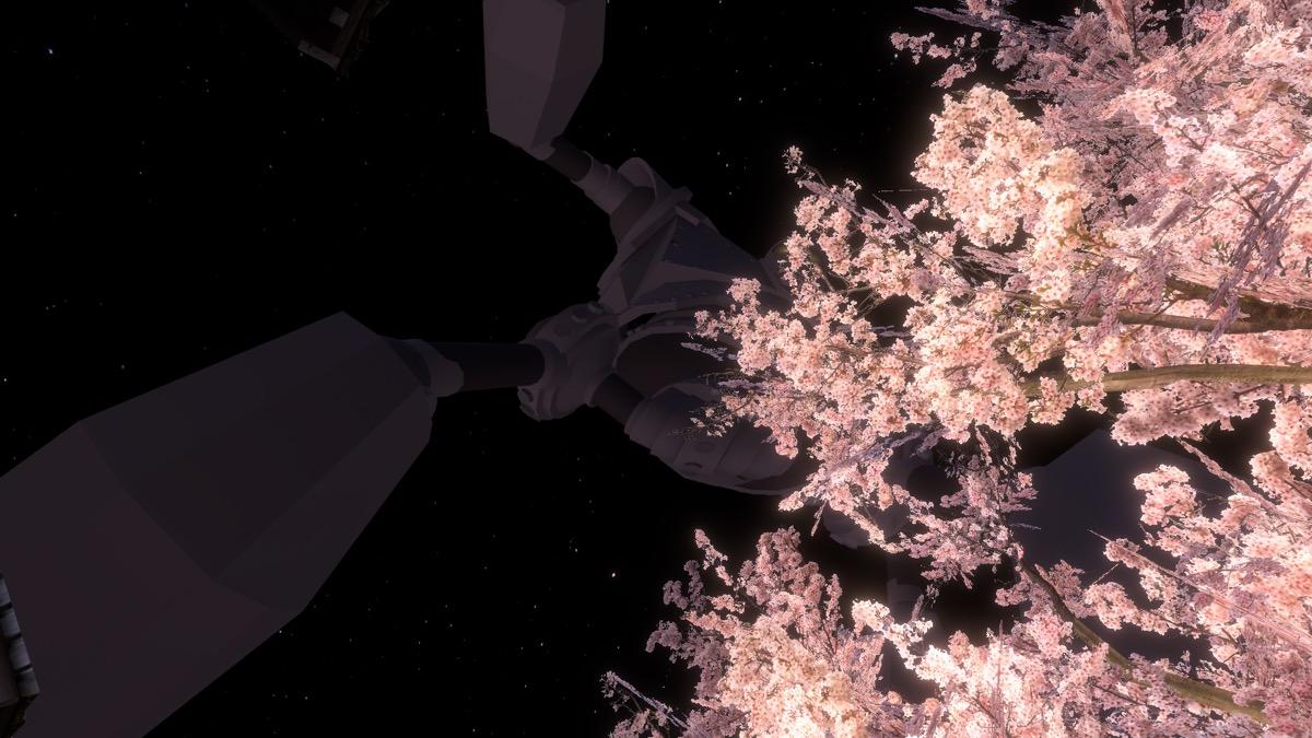 VRChat「SAKURA hiroba-yoru」の空を横切るロボ