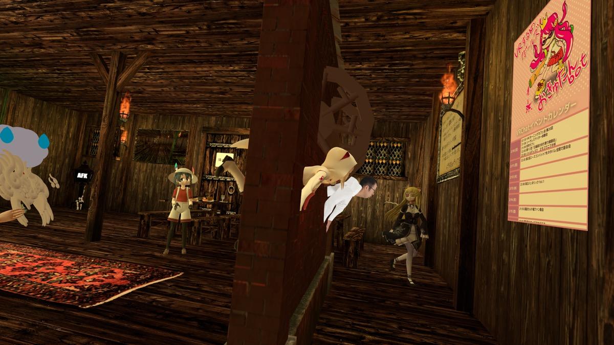 壁にめり込むバーチャルジョイマン高木