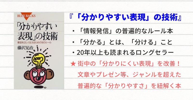 藤沢晃治著『「分かりやすい表現」の技術』要約サムネイル