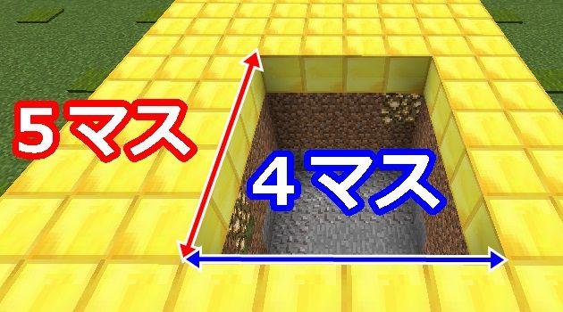 5×4の穴を掘る