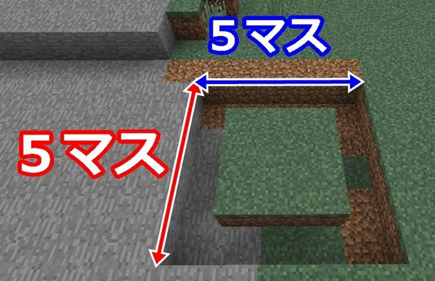 5×5の穴を掘る