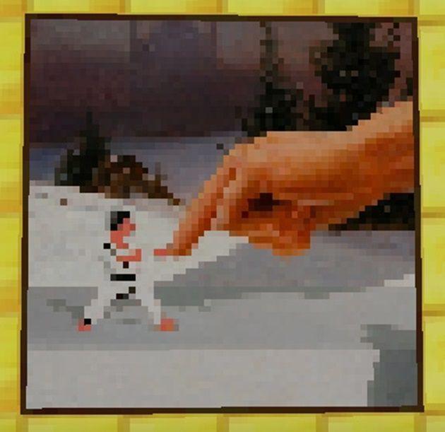 巨大の指を受け止める柔道家