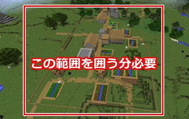 村を囲うために必要なフェンス
