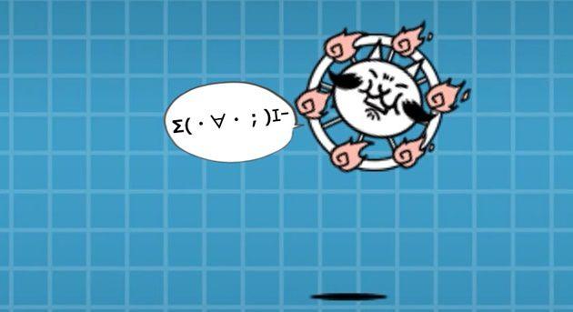 攻撃を受けるネコ車輪