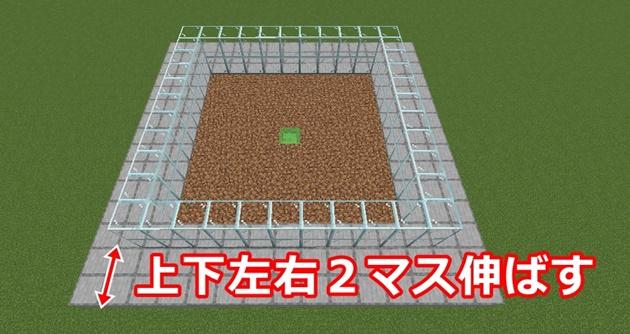 上下左右方向に2マスずつブロック伸ばす