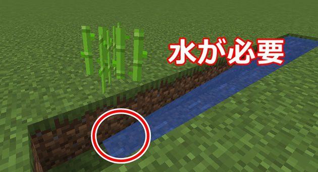 植えるブロックに水が必要