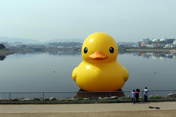 ラバー・ダック 狭山池築造1600年記念(2016年4月、大阪狭山市・狭山池)