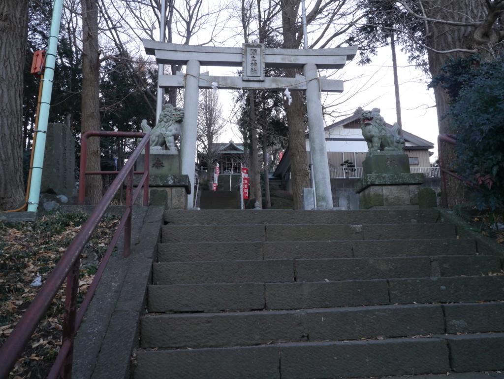 階段から見上げる弥生神社