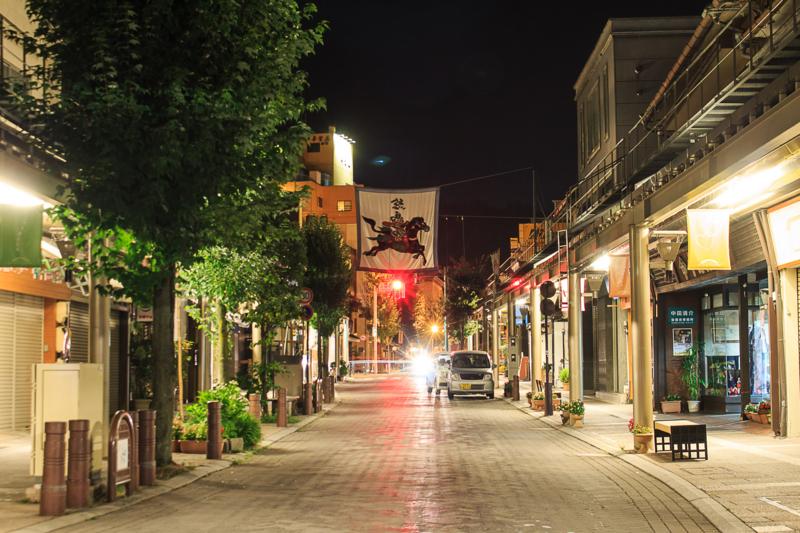 高山市の夜の道