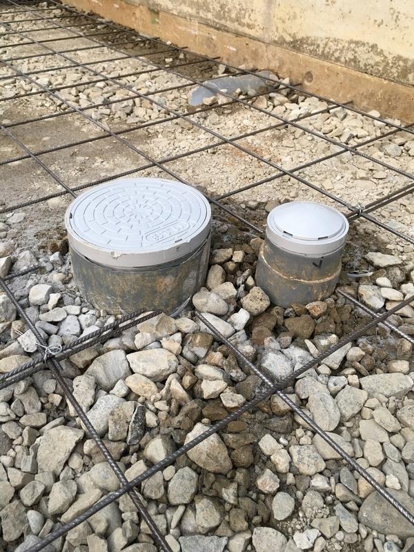 土間コンクリート打設工事 排水桝調整