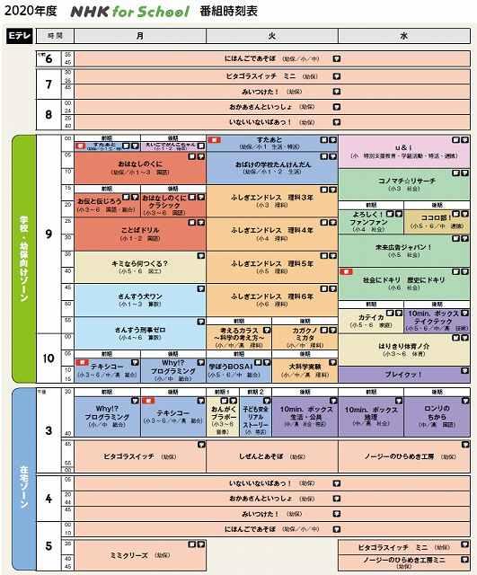 NHK for School 番組表