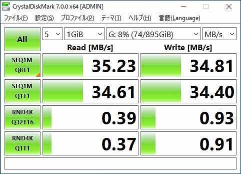 HDDのベンチマークテストの結果