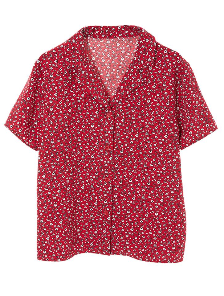 レトロフラワー開襟シャツ