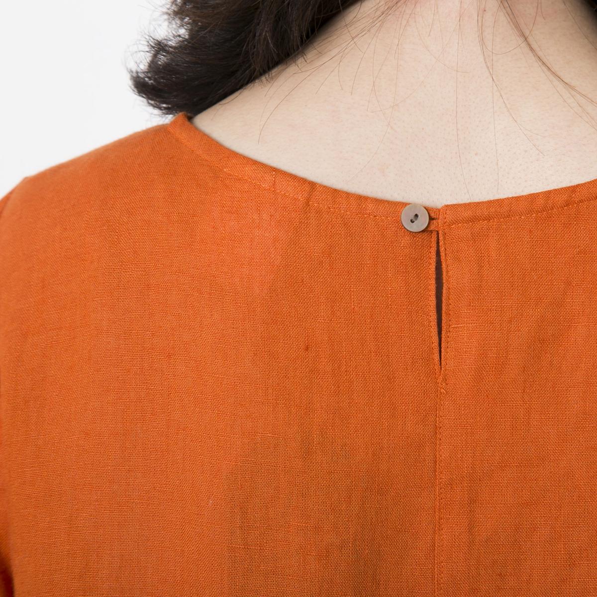 n.o.f.l/リトアニアリネン 半袖ワンピース オレンジ