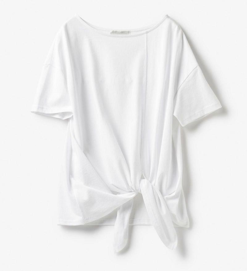 コットンカットソー・裾デザインTシャツ