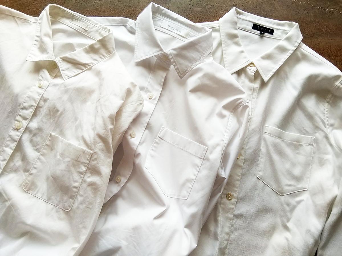白のベーシックな綿シャツ