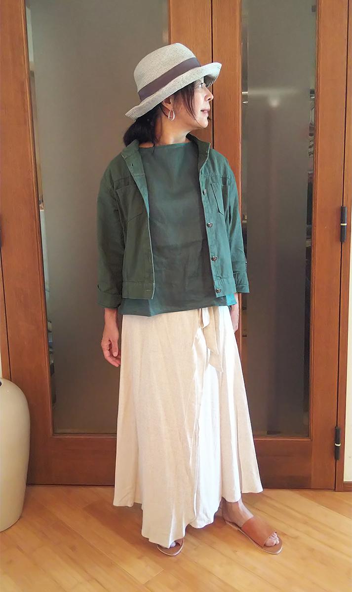 「ナチュラルリネンフレアラップスカート」4,435円