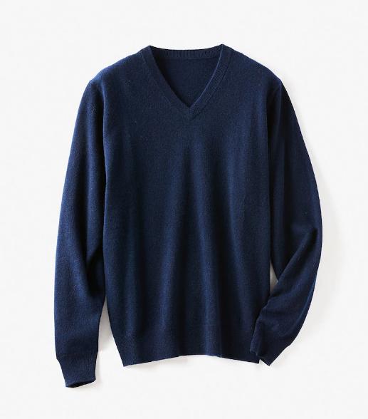 ピュアカシミヤ・Vネックセーター