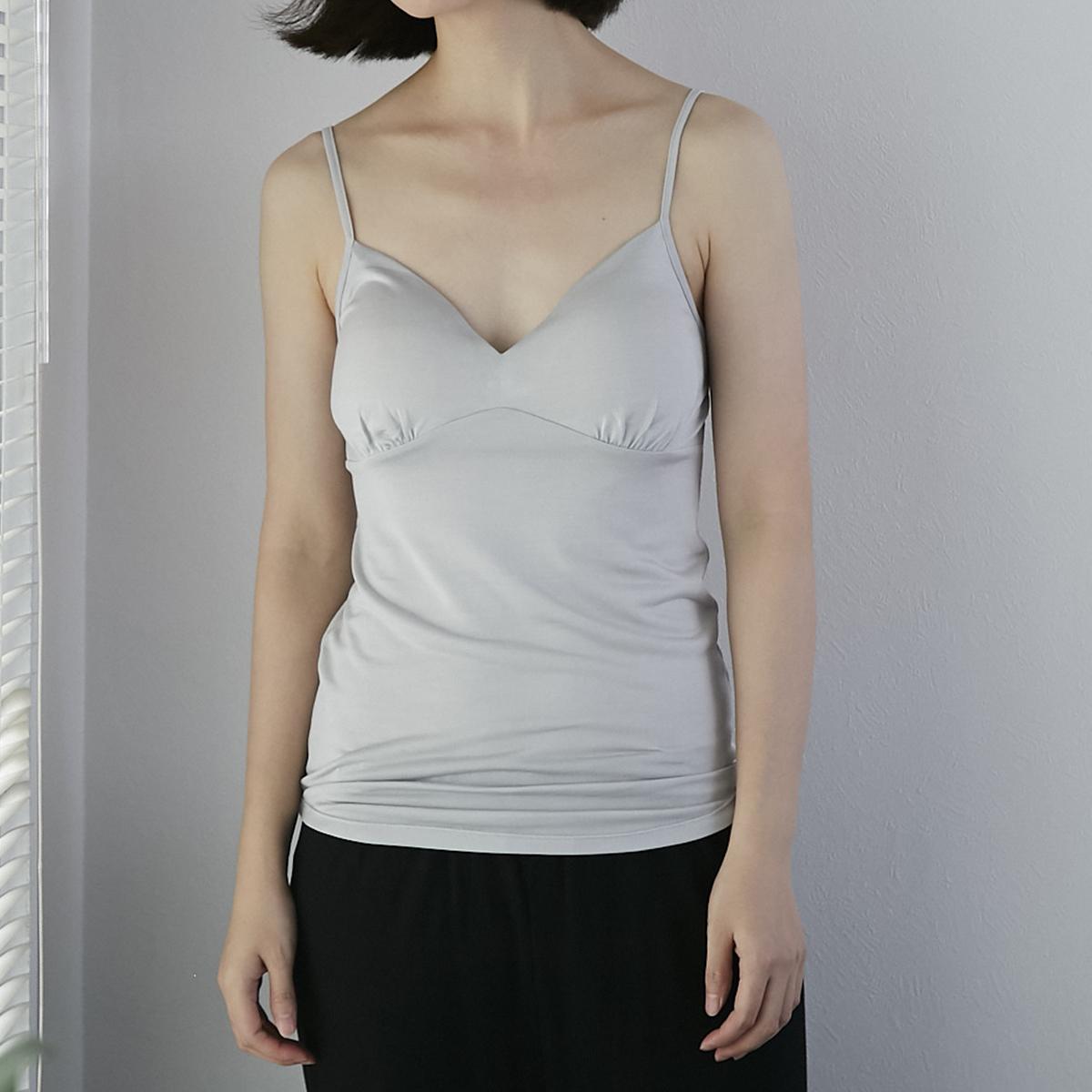 DRESS HERSELF/シルク100%ブラトップ ライトグレー