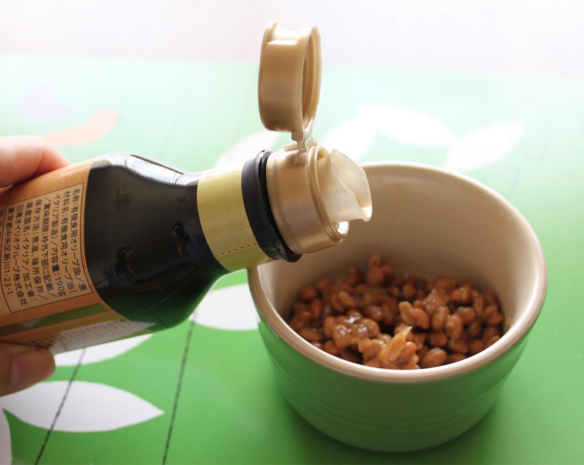 納豆にオリーブオイル
