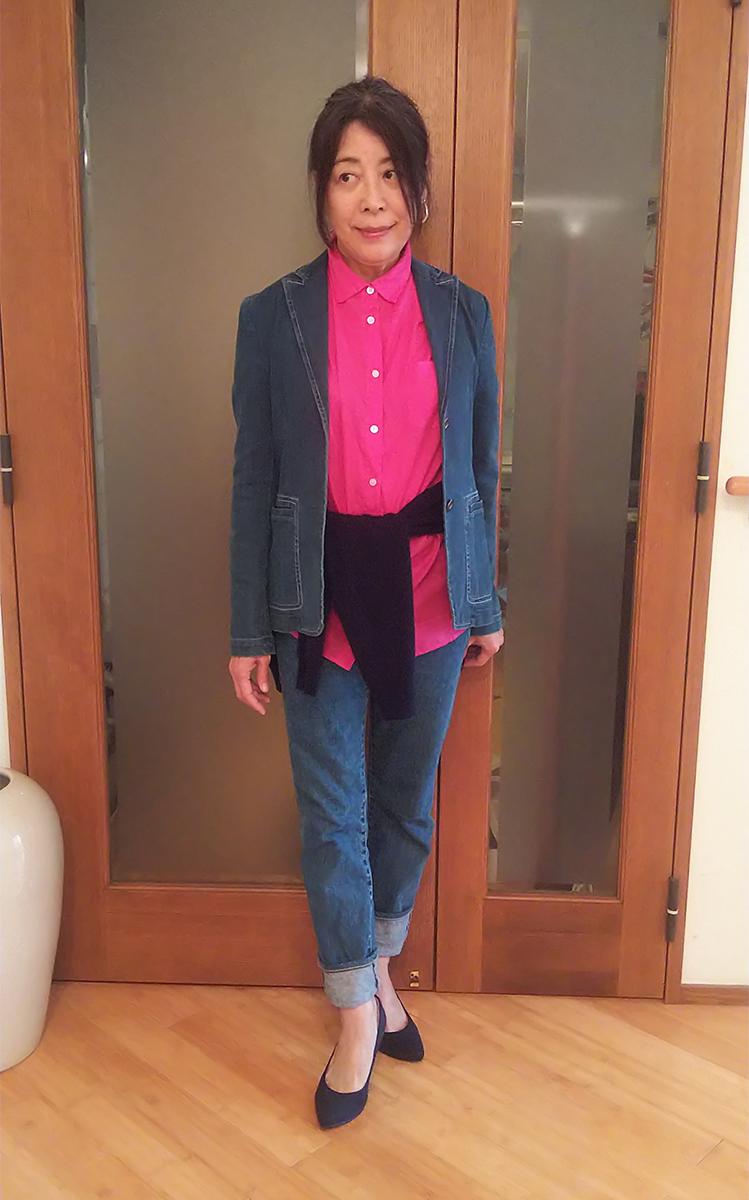 デニムのテーラードジャケットとピュアコットン・ベーシックシャツ