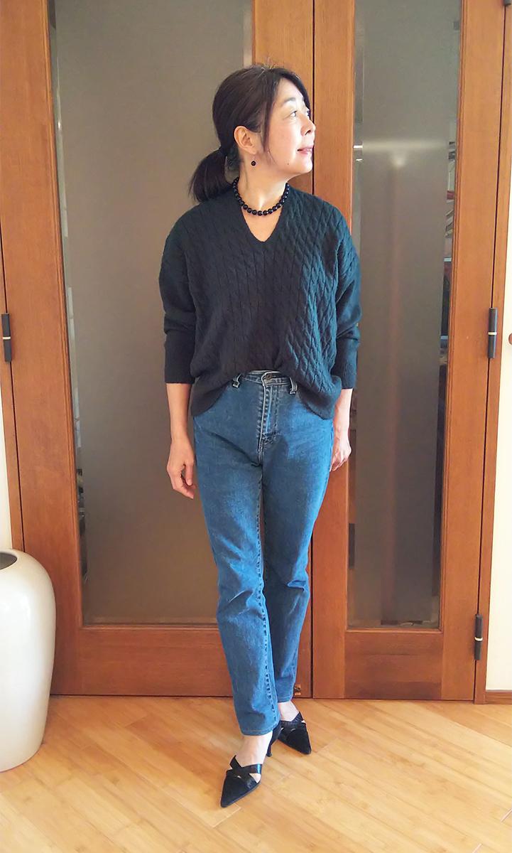 ケーブルオーバーサイズVネックセーター