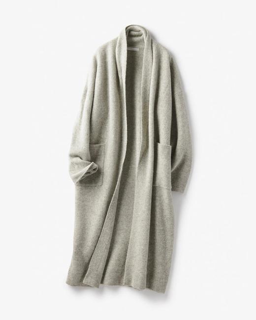 ボイルウール・羽織りコート ライトグレー