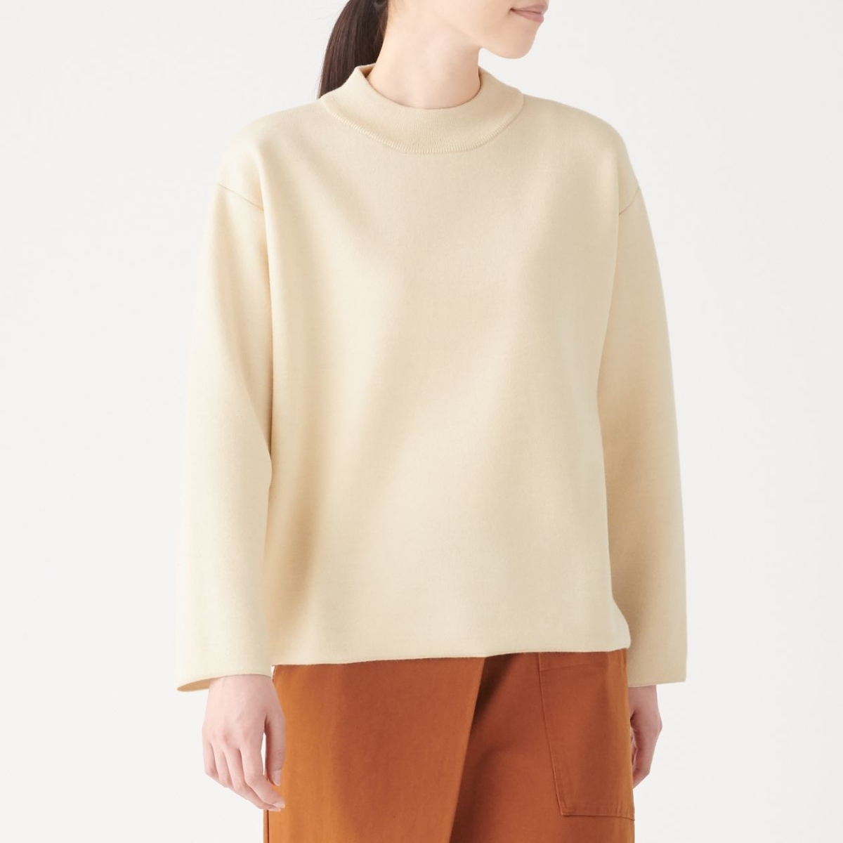 ウール混ダブルフェイスモックネックセーター