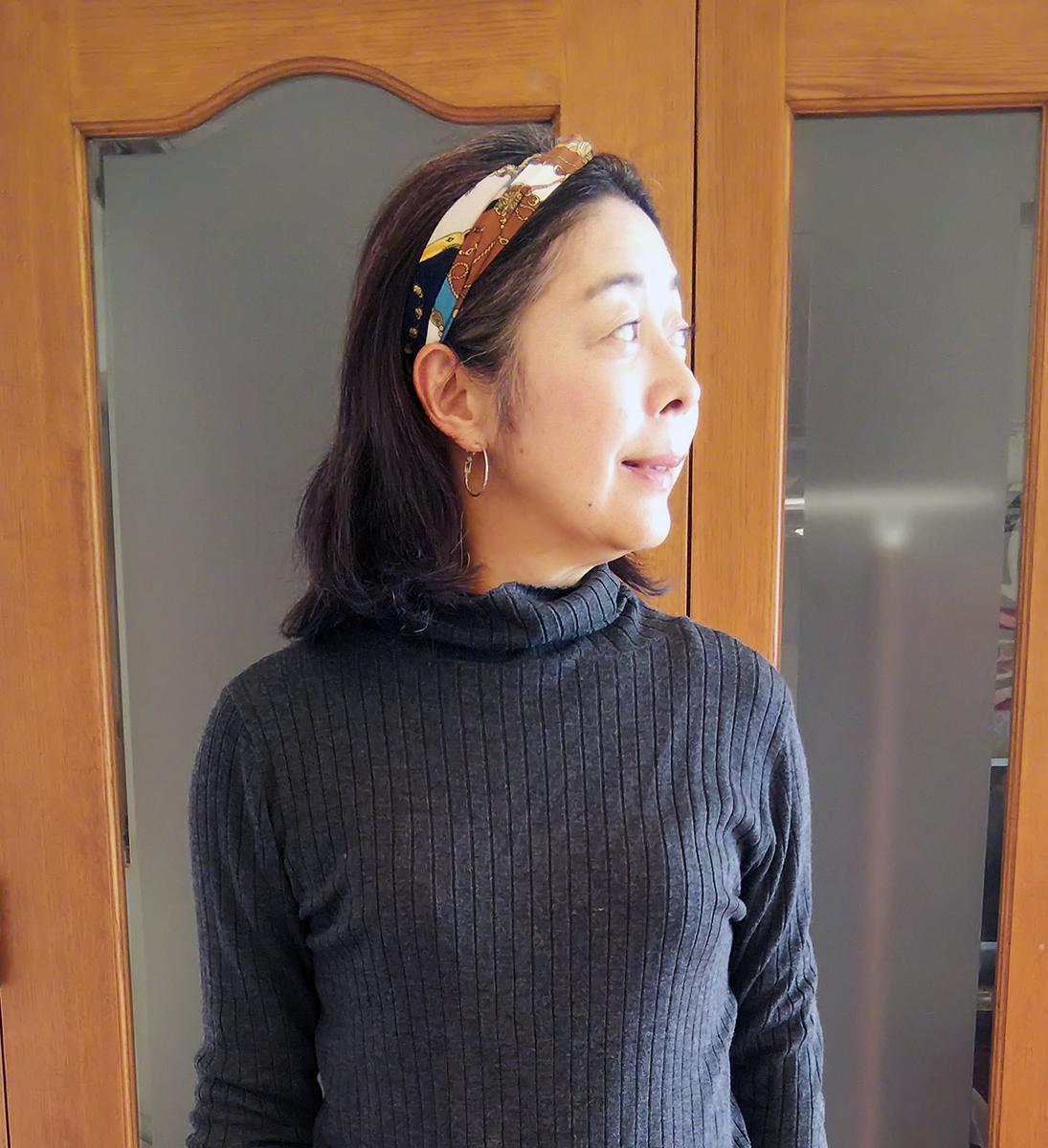 スカーフ柄のターバン