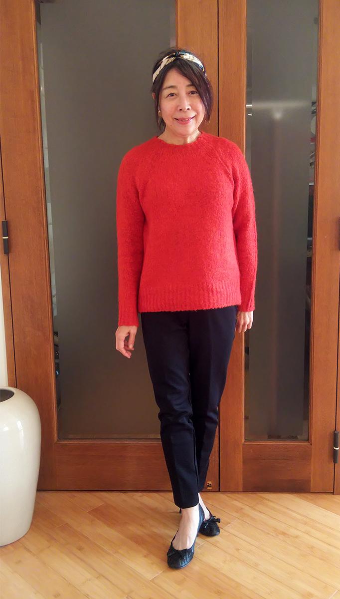 イタリア糸・アルパカ混セーターのコーデ