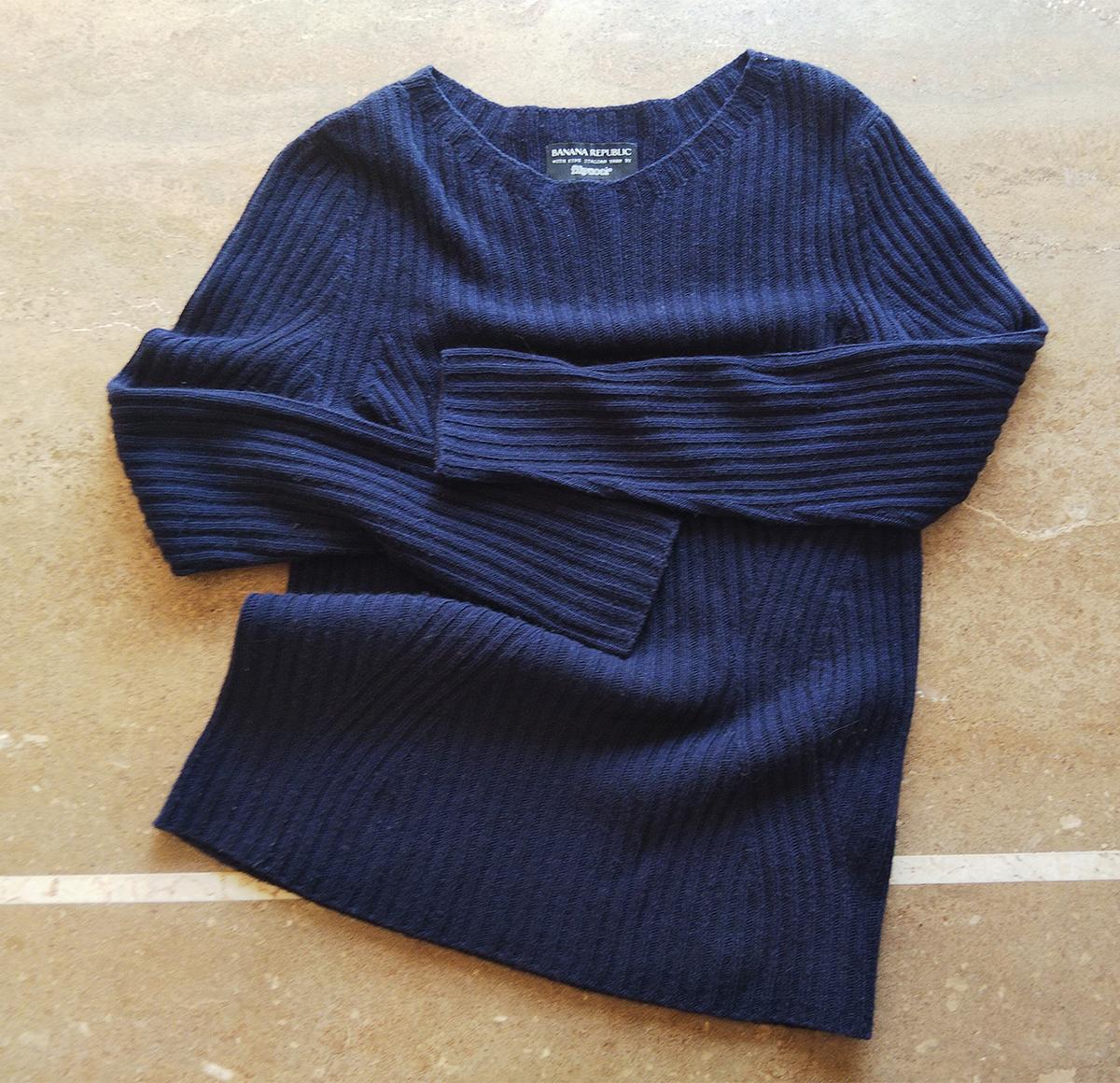 リブクルーネックセーター