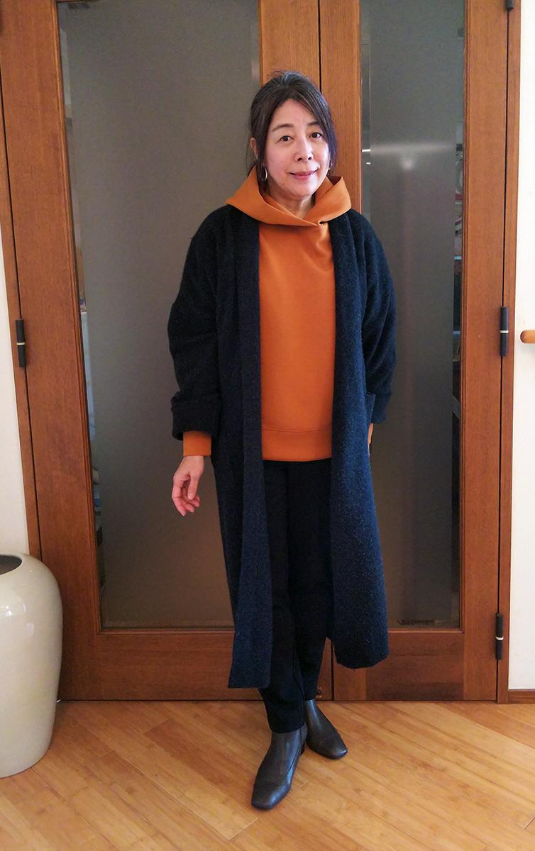 ボイルウール・羽織りコートとのコーデ