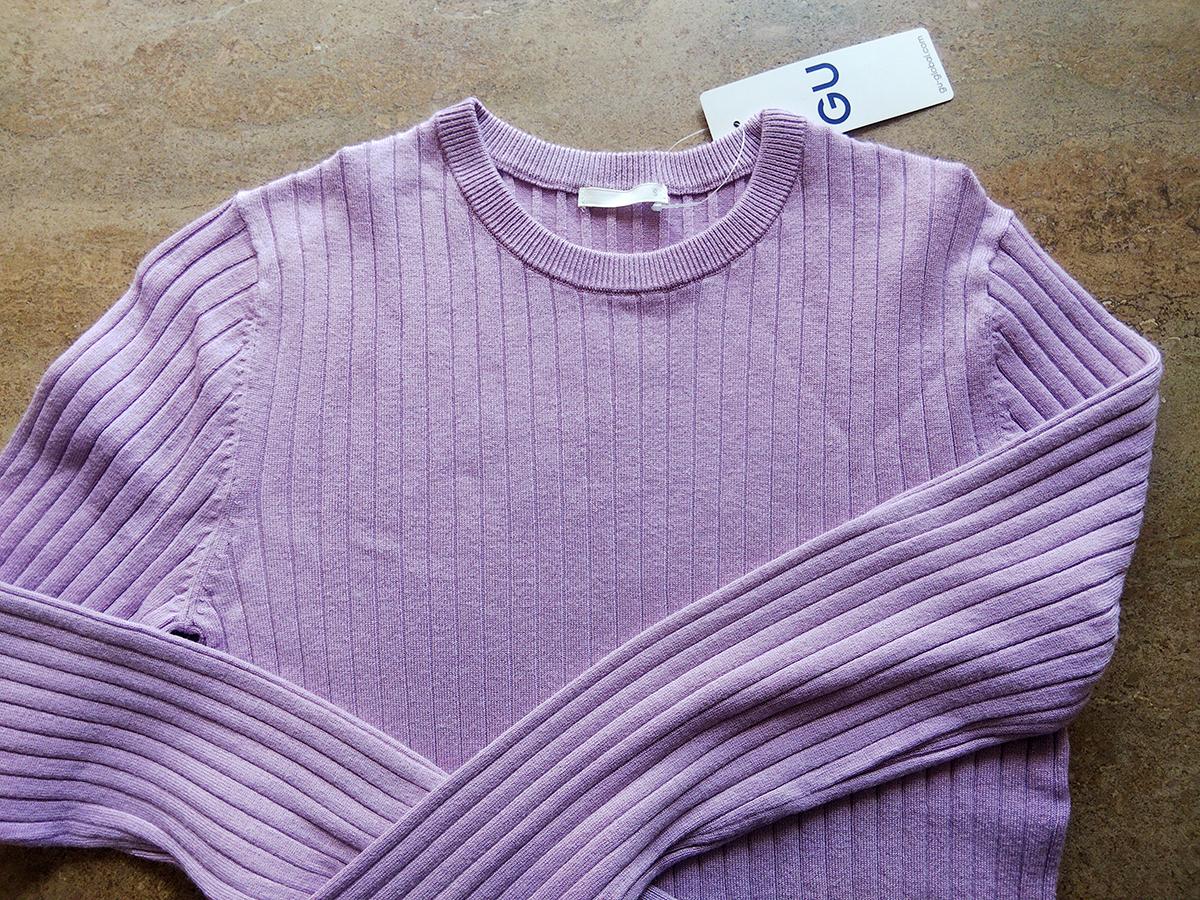 リブクルーネックセーターのパープル