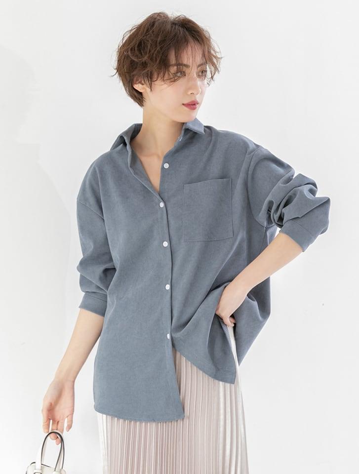 ポケットデザインシンプルカラーシャツ