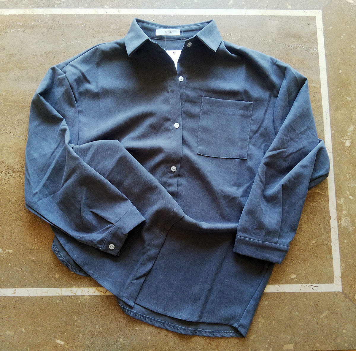ポケットデザインシンプルカラーシャツのブルー
