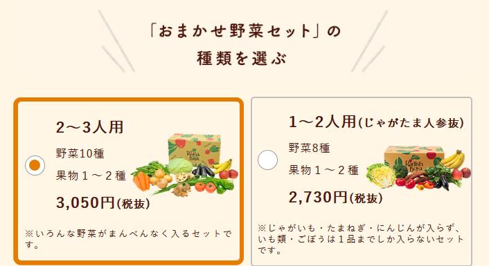 2種類のおまかせ野菜セット