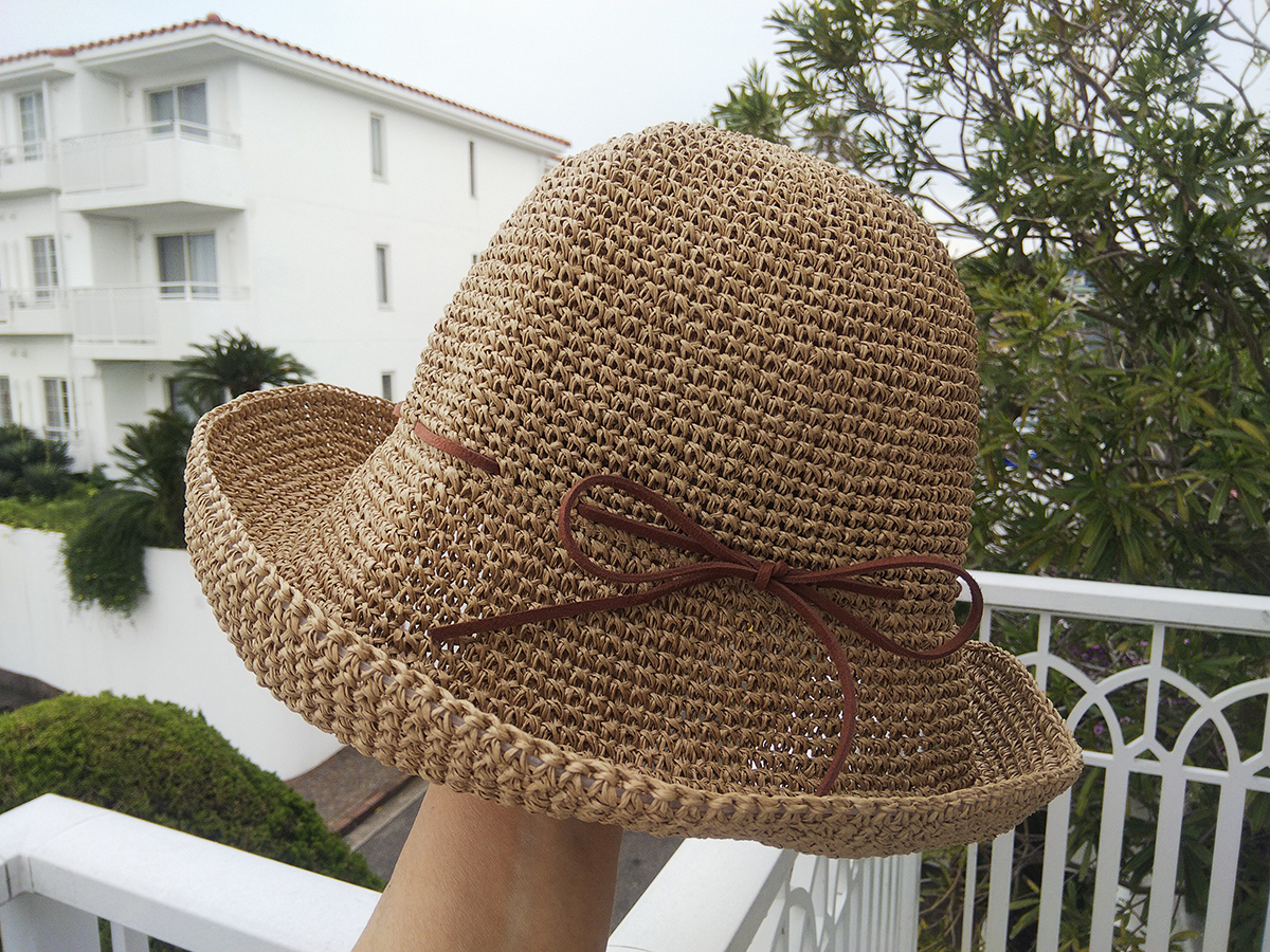 SASAWASHI/手編み帽子 キャメル