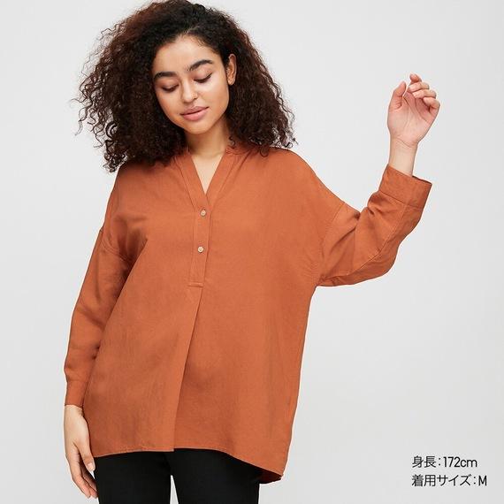 リネンブレンドスキッパーシャツ(7分袖)