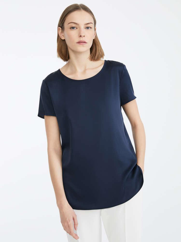 シルク サテン ストレッチ Tシャツ