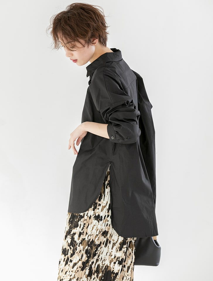 サイドリボンデザインバックロングシャツのブラック
