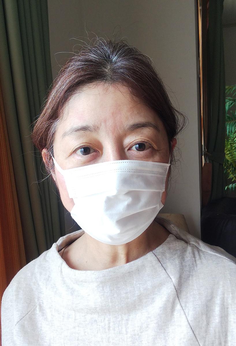 オパシー3層マスクをつけたところ