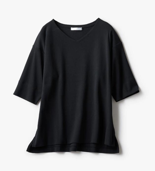 ドゥクラッセTシャツ・抜け感Vネック  ブラック