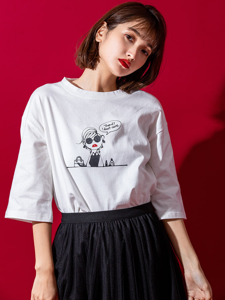 【Josie's RUNWAYコラボ】5分袖サイドスリットTシャツ
