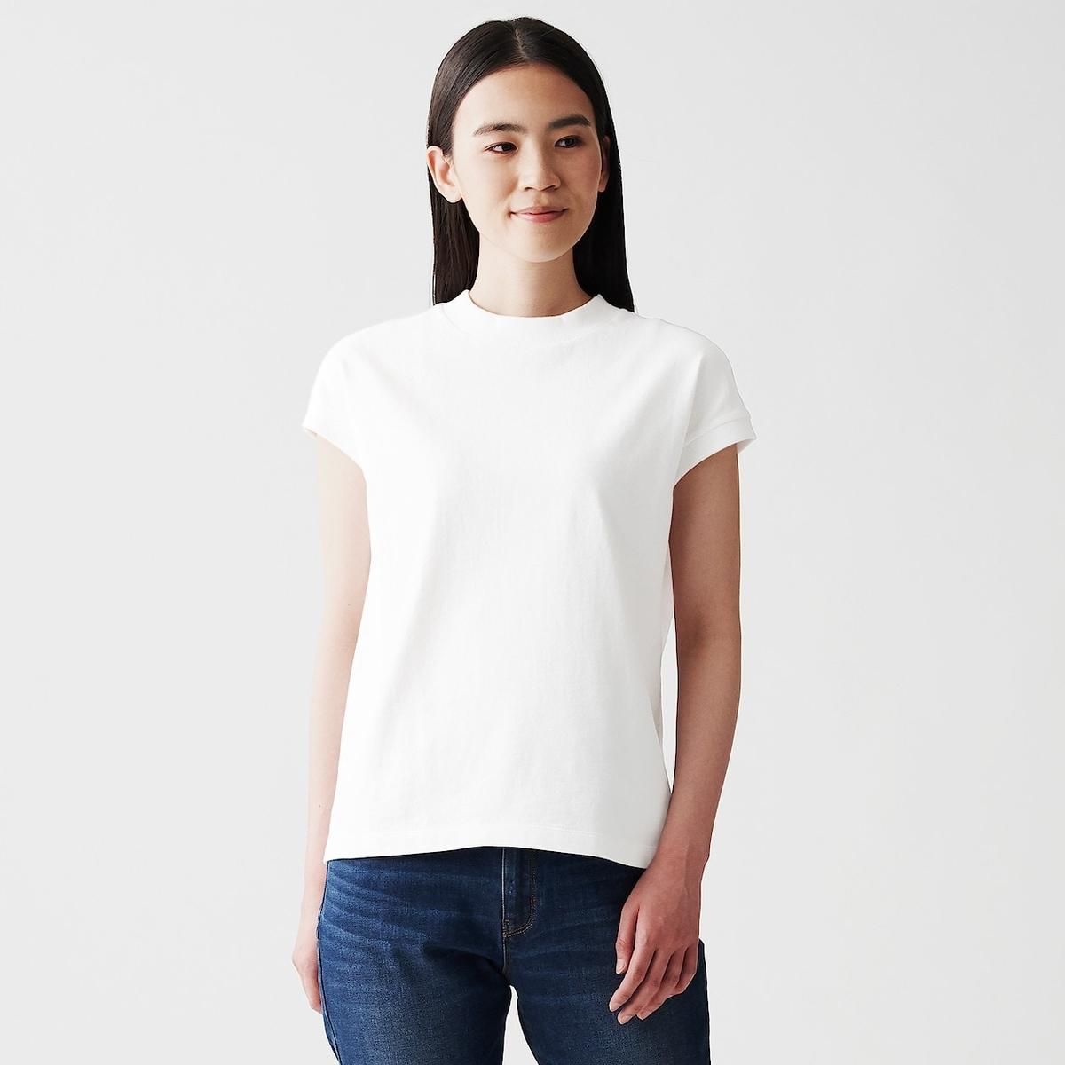 太番手天竺編みフレンチスリーブTシャツ
