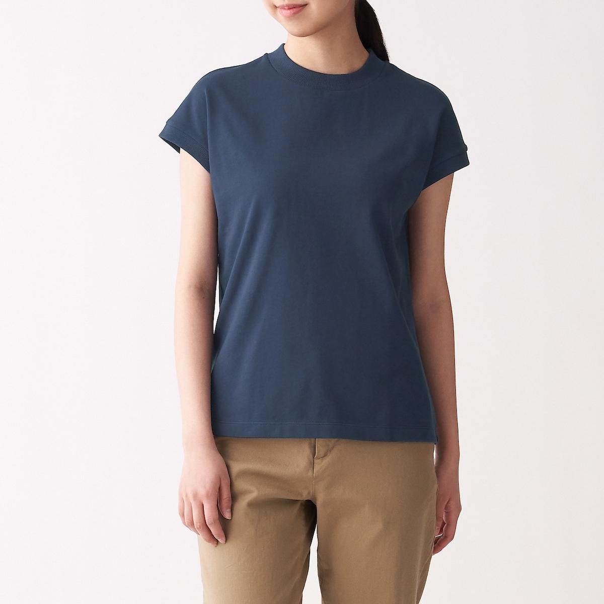 太番手天竺編みフレンチスリーブTシャツ(ネイビー)